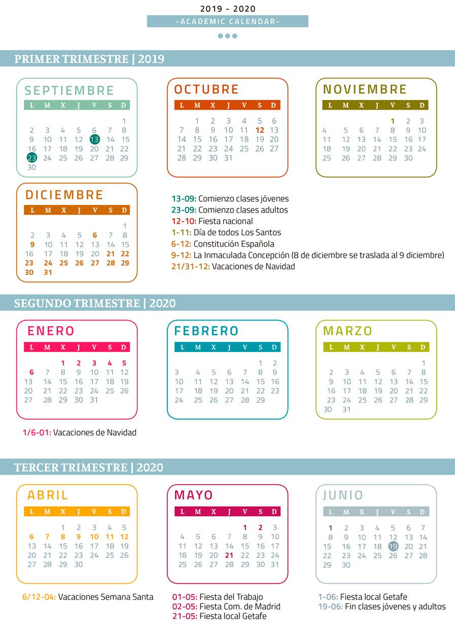 Calendario escolar Midleton